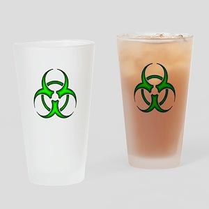 Neon Green Biohazard Symbol Drinking Glass
