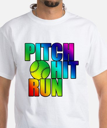 Girls Softball White T-Shirt