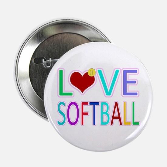 """LOVE SOFTBALL 2.25"""" Button (10 pack)"""
