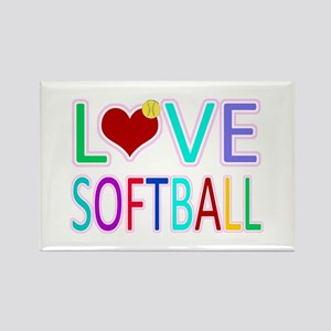 LOVE SOFTBALL Rectangle Magnet (10 pack)