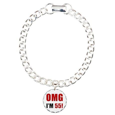 OMG 55th Birthday Charm Bracelet, One Charm