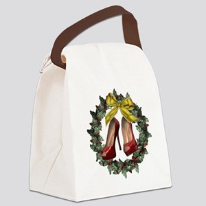 Red Stiletto Shoe Christmas Holid Canvas Lunch Bag