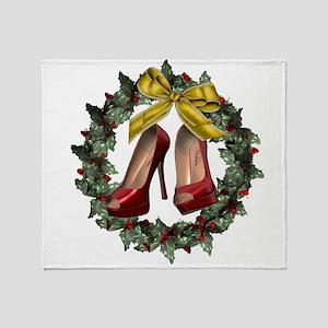 Red Stiletto Shoe Christmas Wreath Throw Blanket