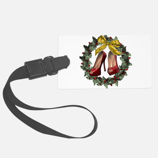 Red Stiletto Shoe Christmas Wrea Large Luggage Tag