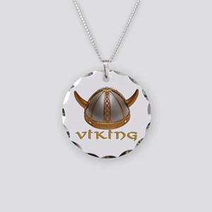 Viking Horns Necklace Circle Charm