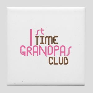 1st Time Grandpas Club (Pink) Tile Coaster