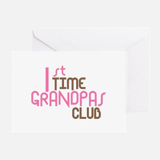 1st Time Grandpas Club (Pink) Greeting Card