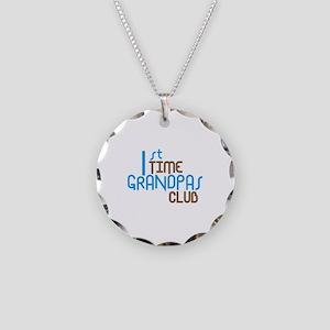 1st Time Grandpas Club (Blue) Necklace Circle Char