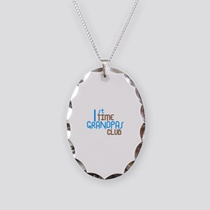 1st Time Grandpas Club (Blue) Necklace Oval Charm
