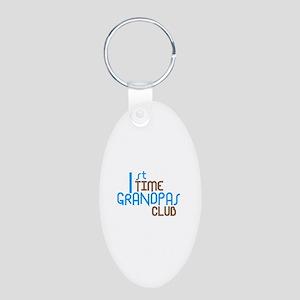 1st Time Grandpas Club (Blue) Aluminum Oval Keycha