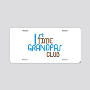 1st Time Grandpas Club (Blue) Aluminum License Pla