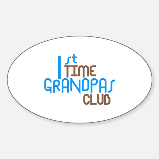 1st Time Grandpas Club (Blue) Sticker (Oval)