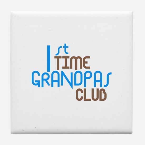 1st Time Grandpas Club (Blue) Tile Coaster