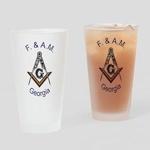 Georgia Square and Compass Pint Glass