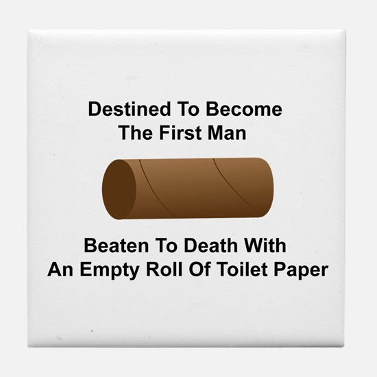 Man Beaten with Toilet Paper Roll Tile Coaster