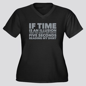 Is Time an Illusion Women's Plus Size V-Neck Dark