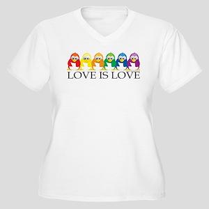 Love Is Love: Penguins Women's Plus Size V-Neck T-