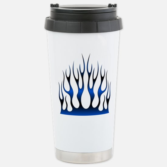 Tribal Flames Fire Blue Stainless Steel Travel Mug
