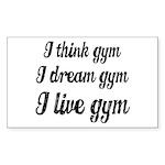 I live gym Sticker (Rectangle)