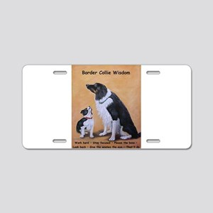 Border Collie Wisdom Aluminum License Plate
