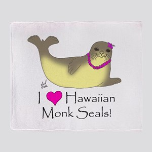 Monk Seal Throw Blanket