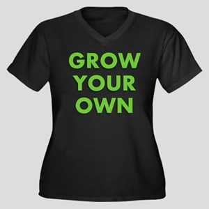 Grow Your Own Women's Plus Size V-Neck Dark T-Shir