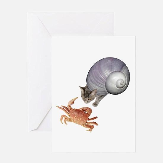 Shell Cat Crab Greeting Card