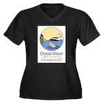 Ocean River Women's Plus Size V-Neck Dark T-Shirt