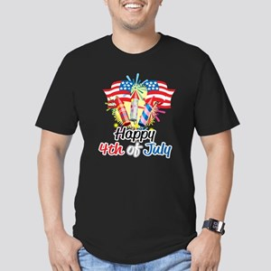 4th of July Fireworks Men's Fitted T-Shirt (dark)