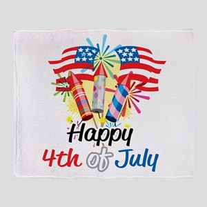 4th of July Fireworks Throw Blanket