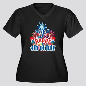 Happy 4th of July Women's Plus Size V-Neck Dark T-