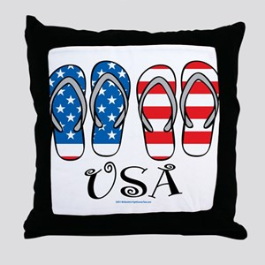 USA Flip Flops Throw Pillow