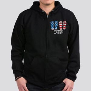 USA Flip Flops Zip Hoodie (dark)