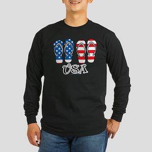 USA Flip Flops Long Sleeve Dark T-Shirt