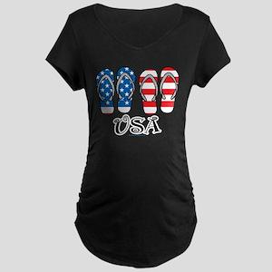USA Flip Flops Maternity Dark T-Shirt