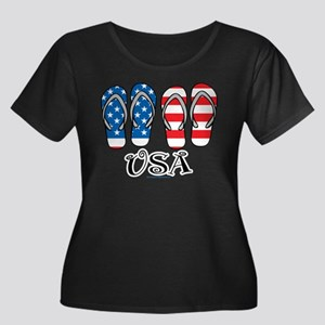 USA Flip Flops Women's Plus Size Scoop Neck Dark T