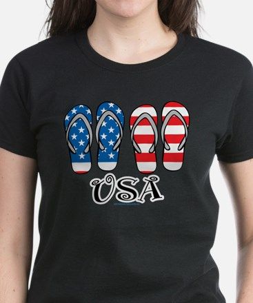 USA Flip Flops Women's Dark T-Shirt