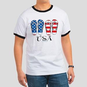 USA Flip Flops Ringer T
