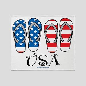 USA Flip Flops Throw Blanket