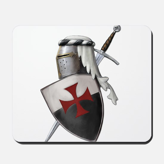 Templar shield with white top Mousepad