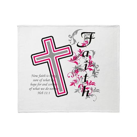 Faith With Cross Throw Blanket By Hotmommatees