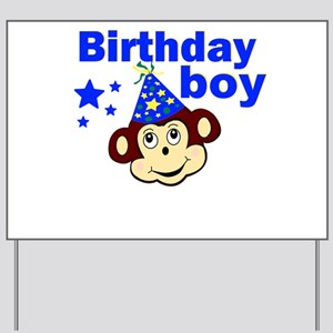 Birthday boy monkey Yard Sign