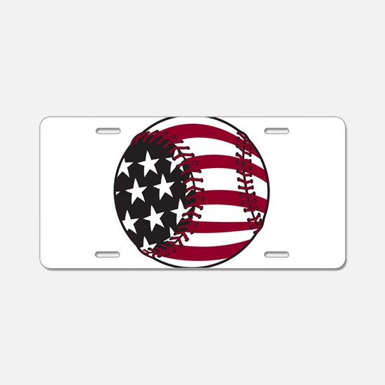 Flag Baseball Aluminum License Plate