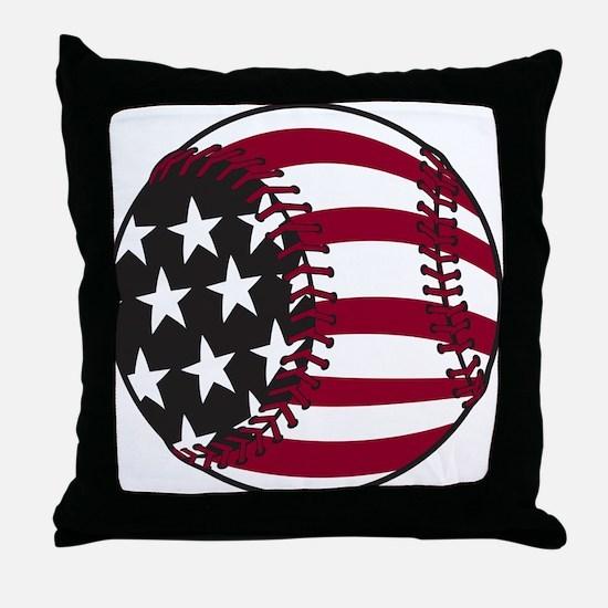 Flag Baseball Throw Pillow