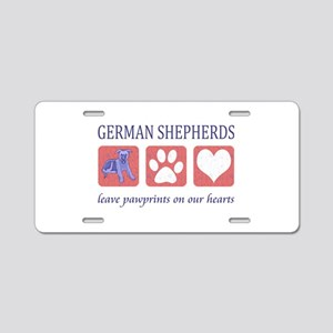 German Shepherd Pawprints Aluminum License Plate