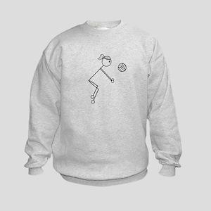 Volleyball Girl Black No Word Kids Sweatshirt