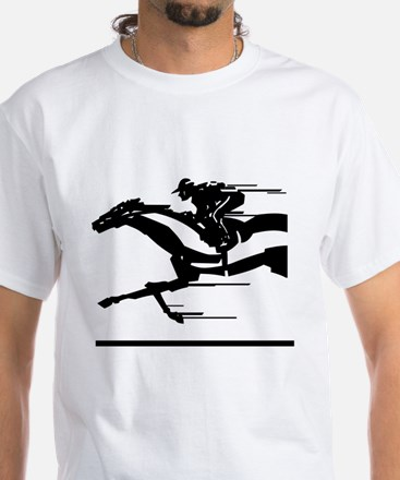Horse Racing White T-Shirt