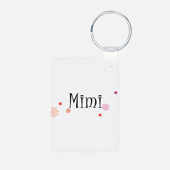Mimi With Flowers Aluminum Photo Keychain