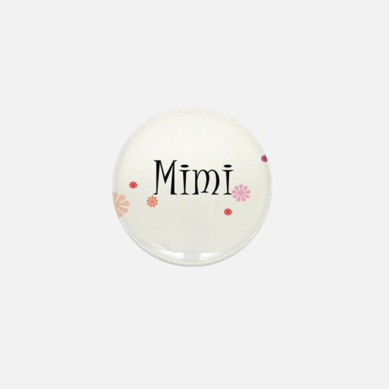 Mimi With Flowers Mini Button