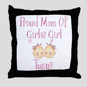 Proud Mom of Twin Girls Throw Pillow